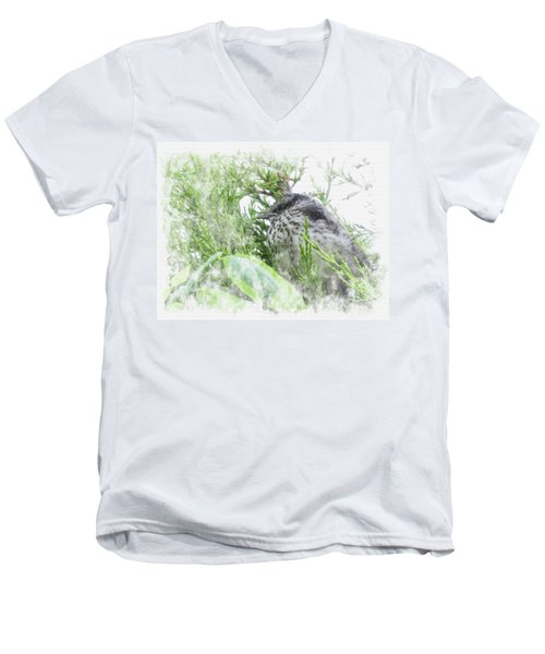 Men's V-Neck T-Shirt featuring the digital art Cute Little Bird On Tree by Eduardo Jose Accorinti
