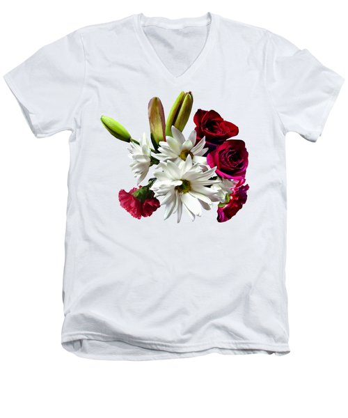 Daisies, Roses And Carnations Men's V-Neck T-Shirt