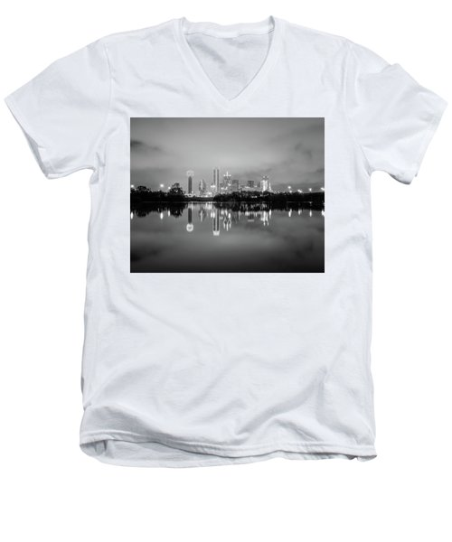 Dallas Cityscape Reflections Black And White Men's V-Neck T-Shirt
