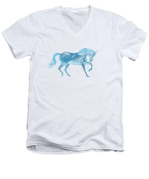 Dancing Blue Unicorn Men's V-Neck T-Shirt