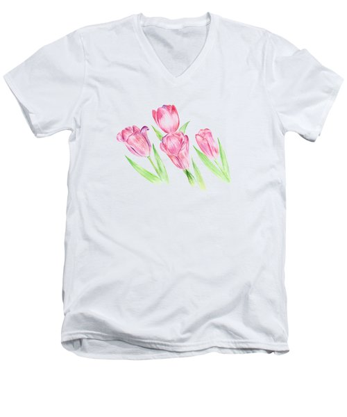 Dancing Tulips Men's V-Neck T-Shirt