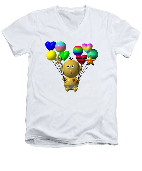 Men's V-Neck T-Shirt featuring the digital art Dark Skinned Bouncing Baby Boy With 10 Balloons by Rose Santuci-Sofranko