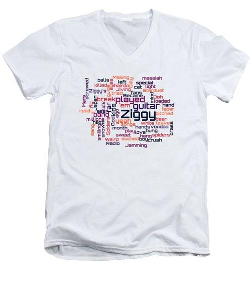 David Bowie - Ziggy Stardust Lyrical Cloud Men's V-Neck T-Shirt