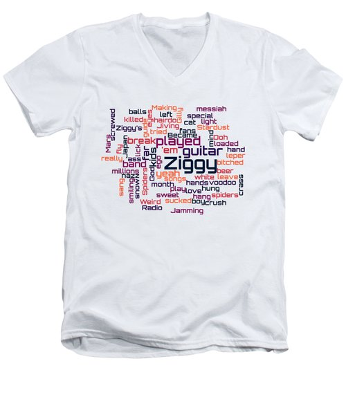 David Bowie - Ziggy Stardust Lyrical Cloud Men's V-Neck T-Shirt