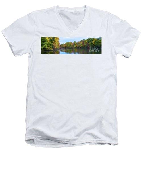 Davidson's Mill Pond Autumn Panorama  Men's V-Neck T-Shirt