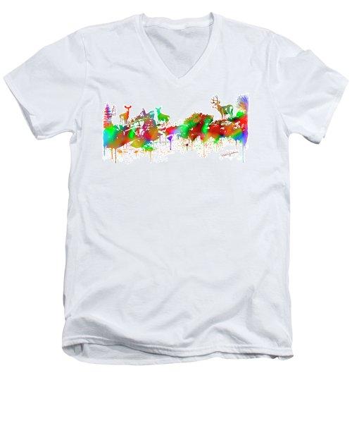 Deer Skyline Drip Panel Men's V-Neck T-Shirt