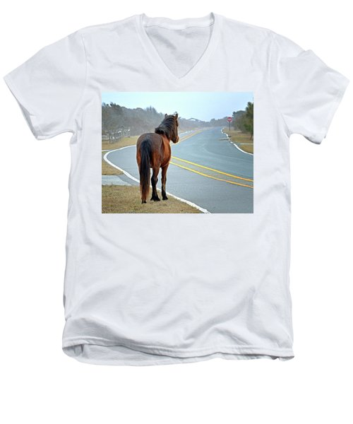 Delegats's Pride Looking For Visitors To Assateague Island Men's V-Neck T-Shirt