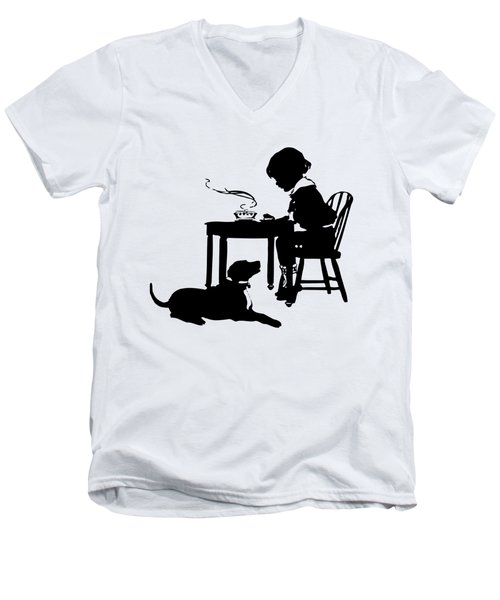 Dining With The Dog Silhouette Men's V-Neck T-Shirt