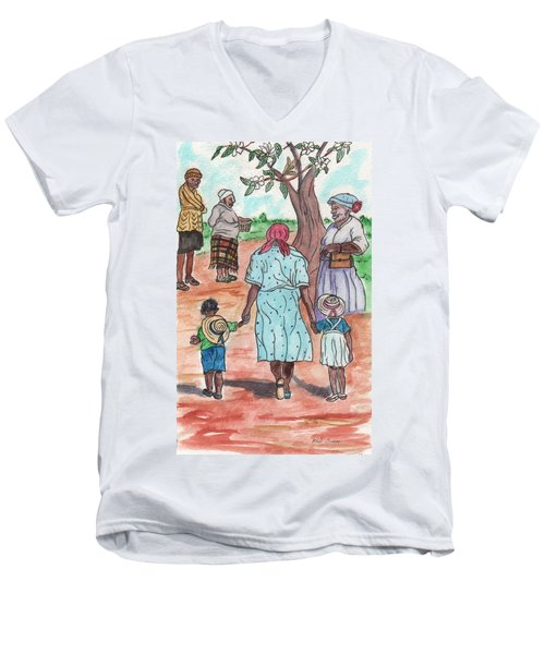 Down The Red Road And Past The Magnolia Tree Men's V-Neck T-Shirt