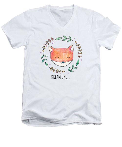 Dream On - Boho Chic Ethnic Nursery Art Poster Print Men's V-Neck T-Shirt