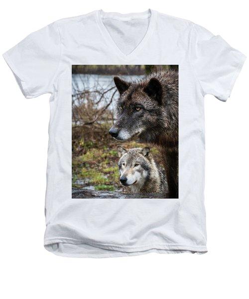 Dual Wolves Men's V-Neck T-Shirt