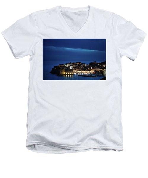 Dubrovnik Old Town At Night Men's V-Neck T-Shirt