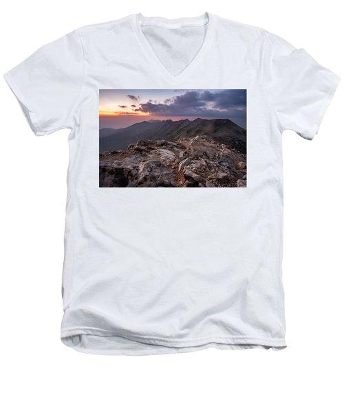 Dusk At Peak Vihren  Men's V-Neck T-Shirt