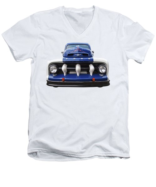 Early Fifties Ford V8 F-1 Truck Men's V-Neck T-Shirt