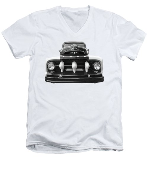 Early Fifties Ford V8 F-1 Truck In Black And White Men's V-Neck T-Shirt