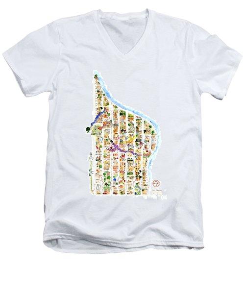 East Harlem Map Men's V-Neck T-Shirt