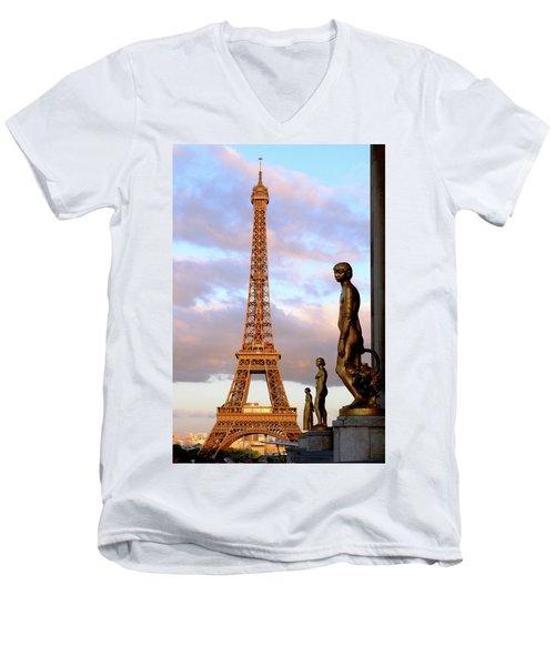 Eiffel Tower At Sunset Men's V-Neck T-Shirt