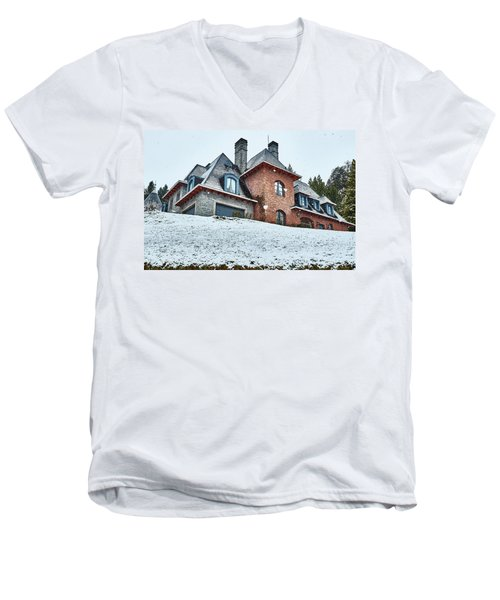 Men's V-Neck T-Shirt featuring the photograph El Messidor Residence In Villa La Angostura by Eduardo Jose Accorinti