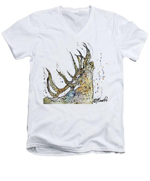Elk Art Print By Olena Art Men's V-Neck T-Shirt
