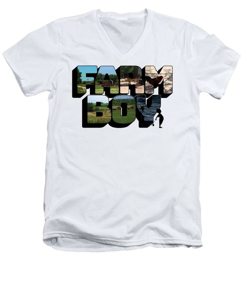 Farm Boy Big Letter 2  Men's V-Neck T-Shirt
