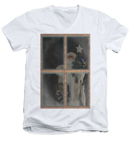 Father Christmas In Window Men's V-Neck T-Shirt