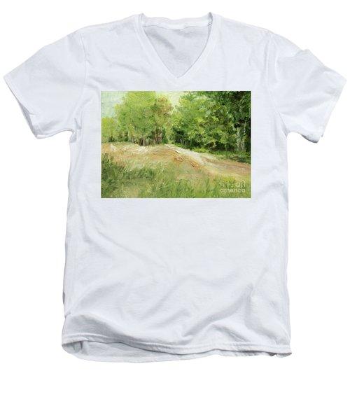 Woodland Trees And Dirt Road Men's V-Neck T-Shirt