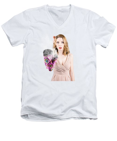Fifties House Wife Gesturing A Cooking Time Out Men's V-Neck T-Shirt