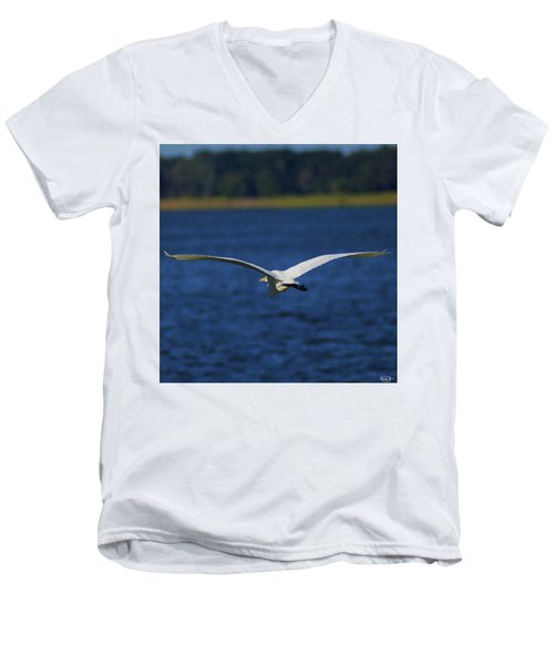 Flight Of The Egret Men's V-Neck T-Shirt