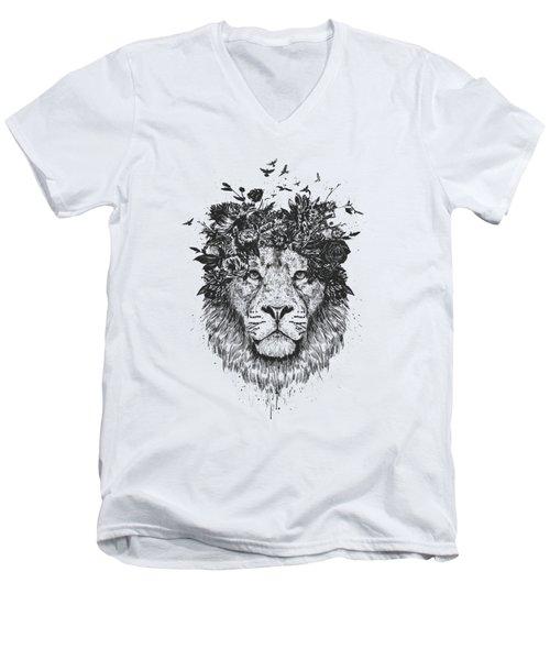 Floral Lion Men's V-Neck T-Shirt