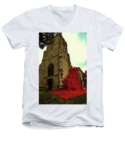 Flowing Poppies Men's V-Neck T-Shirt