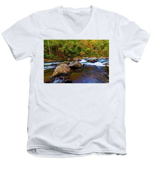Men's V-Neck T-Shirt featuring the photograph Flowing Waters by Andy Crawford