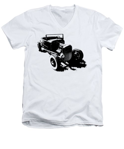 Ford Flathead Roadster Two Blk Men's V-Neck T-Shirt