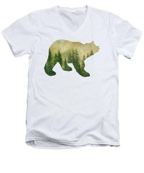 Forest Black Bear Silhouette Men's V-Neck T-Shirt