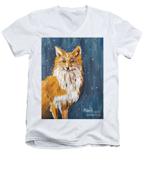 Fox Winter Night Men's V-Neck T-Shirt