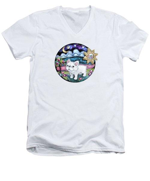 French Bull Dog Puppy Jewelry Art Men's V-Neck T-Shirt