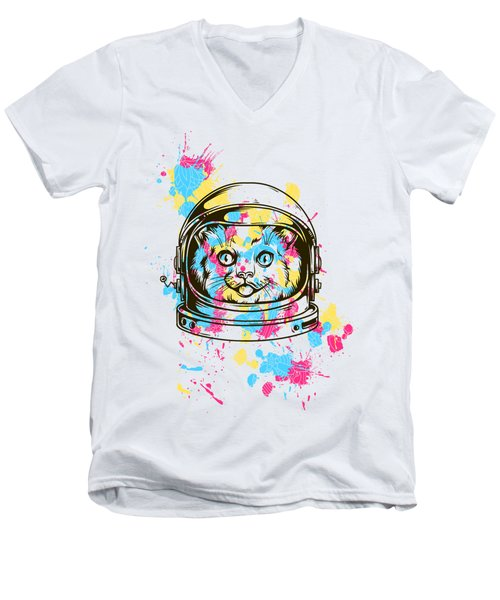 Funny Colorful Cat Astronaut Men's V-Neck T-Shirt