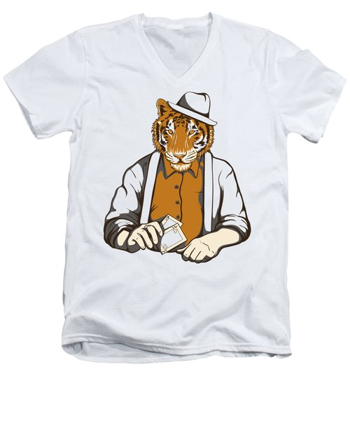Gambling Tiger Men's V-Neck T-Shirt