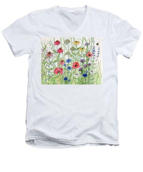 Garden Flower Medley Watercolor Men's V-Neck T-Shirt