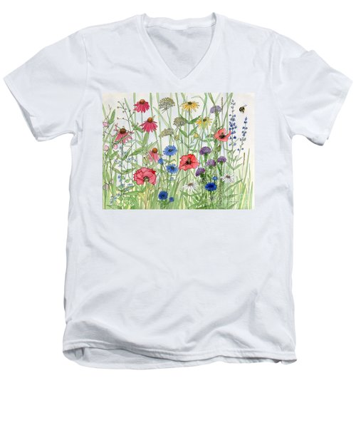 Garden Flower Medley Watercolor Men's V-Neck T-Shirt