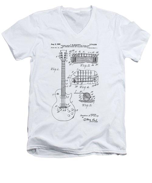Gibson Les Paul Patent Drawing 1955 Canvas Print,photographic Print,art Print,framed Print, Men's V-Neck T-Shirt