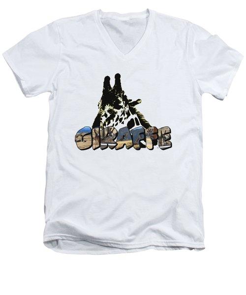 Giraffe Big Letter Men's V-Neck T-Shirt