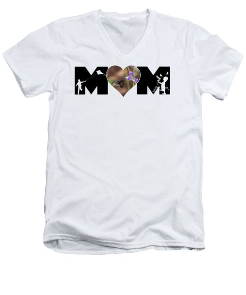 Girl And Boy Silhouette With Butterfly On Lavender In Heart Mom Big Letter Men's V-Neck T-Shirt