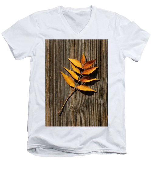 Men's V-Neck T-Shirt featuring the photograph Golden Autumn Leaves On Wood by Debi Dalio