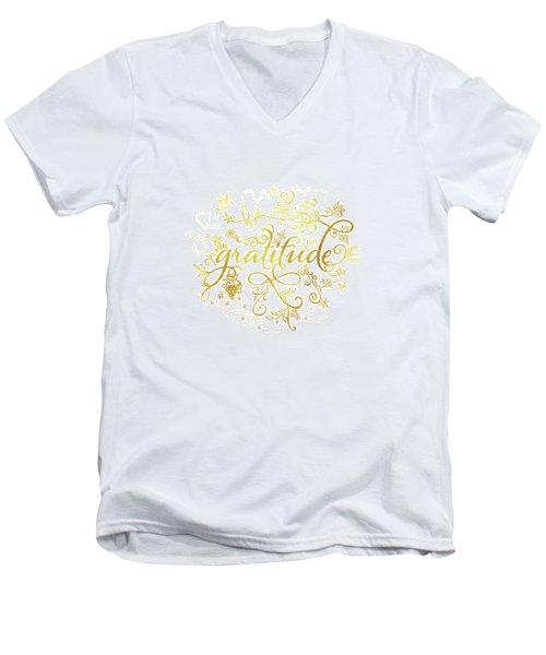 Golden Gratitude Men's V-Neck T-Shirt