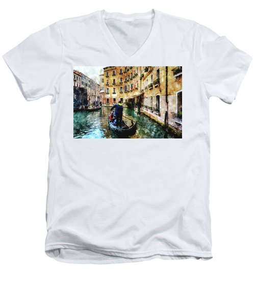 Men's V-Neck T-Shirt featuring the digital art Gondola Traffic Near Piazza San Marco In Venice by Eduardo Jose Accorinti