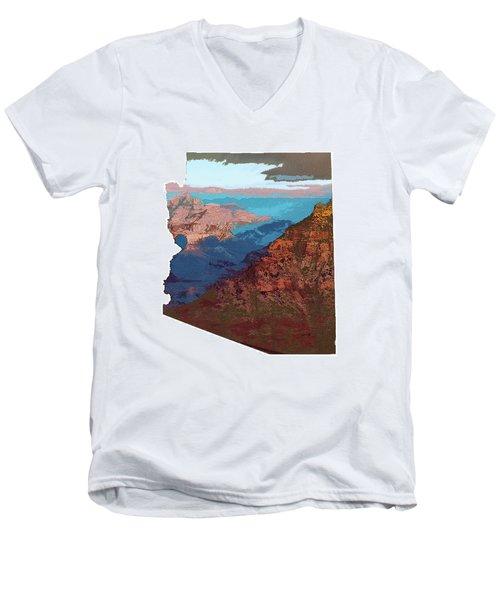 Grand Canyon In The Shape Of Arizona Men's V-Neck T-Shirt