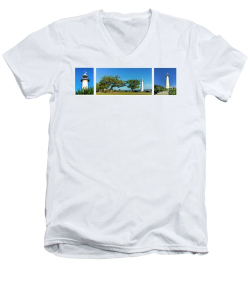 Men's V-Neck T-Shirt featuring the photograph Grand Old Lighthouse Biloxi Ms Collage A1e by Ricardos Creations