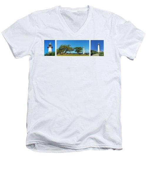 Grand Old Lighthouse Biloxi Ms Collage A1e Men's V-Neck T-Shirt