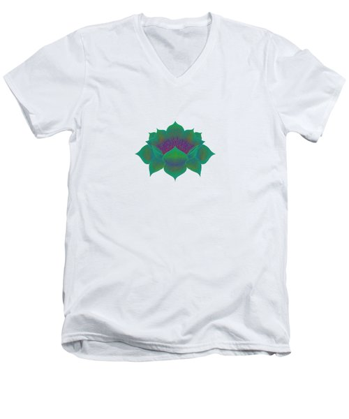 Green Lotus Men's V-Neck T-Shirt