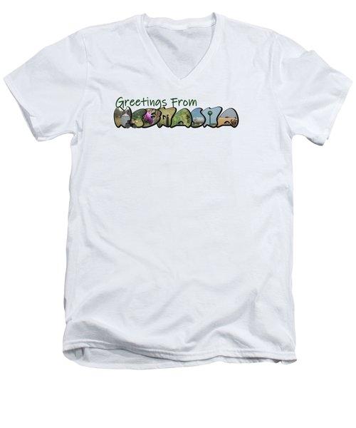 Greetings From Nebraska Big Letter Men's V-Neck T-Shirt